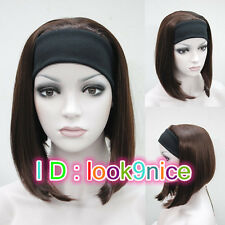 Half wig 3/4 wigs With headband Synthetic Hair Wig Brown Cosplay Party wigs
