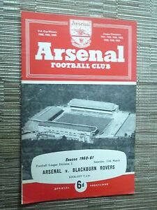 1960/61 Football League: ARSENAL v BLACKBURN ROVERS - 11th March