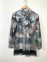 Johnny Was 3J Workshop Womens Small S Button Down Tunic Top Patchwork Silk Blend