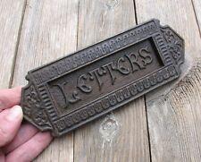 Antique Victorian Cast Iron Letter Box Plate / Door Mail Slot / Mailbox c1889