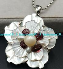 Natural White Carved Abalone Shell Flower Pearl /Garnet Pendant Necklace 17''