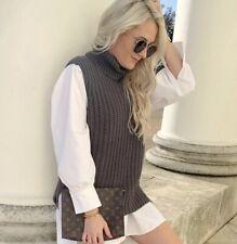 H&M Conscious Rib Knit Roll Neck Slipover Vest Jumper Dark Size M Bloggers Fave