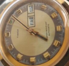 Gold Tone Vintage 1970's Men's Timex Day Date Automatic Watch Baldwin Band