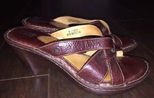 BORN Size US 9 /EU 40.5 Wedge Brown Leather Sandals
