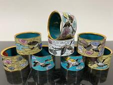 New ListingVintage 8pc Chinese Export Enamel Cloisonné Napkin Ring Holders