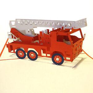 POP UP 3D Klappkarte *Feuerwehr-Auto* Fahrzeug, Feuerwehrmann, Leiterwagen Rot