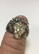 14K GOLD LION'S HEAD GENTS MENS RING WITH GEN. DIAMONDS, HANDMADE. ret$2499