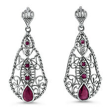 Sterling Silver Filigree Earrings, #663 Genuine Ruby Antique Design 925