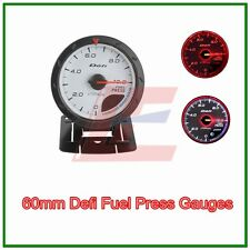 60mm defI advanced turbo Fuel Pressure gauge Amber red/ white lights white face