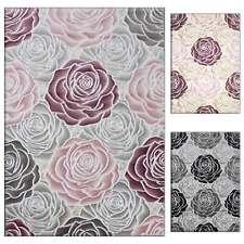 Teppich Wohnzimmer Blume Rosen Muster mit Glitzereffekt