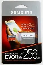SAMSUNG EVO Plus 256GB MicroSD Micro SDXC C10 Flash Memory Card w/ SD Adapter