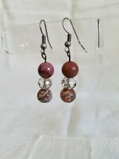 agate beaded dangle earrings Handcrafted rose colored jasper and