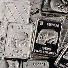 Hippopotamus Design. Lot of 10, 1 gram silver bullion .999 Fine silver bar. NEW