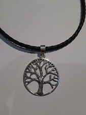 Genuine Sterling Silver 925 Tree of life Pendant rubber chain sterling clasp