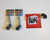 2 NEW BANG GUN PISTOLS WITH FLAG COMEDY PROP GUNS GAG GIFT MAGIC TRICK