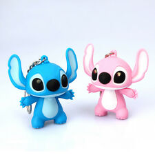 2Pcs Mkring Lilo Stitch Keychain Mini Led Flashlight Sound/Light pendant Chains