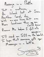 STING / THE POLICE Signed Handwritten Lyrics 'Message In A Bottle' - preprint