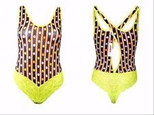 Italian New Womens Fashion Designer Lace Spoty Print Sheer Body Top sz S AX85