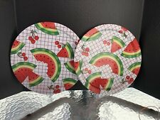 2 Tin Watermellon Trays/Platters  - Summer Patio Party Ware - Used