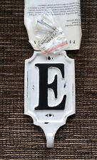 RARE POTTERY BARN Distressed Cream Iron Alphabet Letter E Wall Hook Discontinued