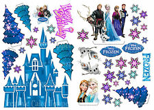 EDIBLE Disney FROZEN ICE CASTLE Anna Elsa WAFER Stand Up Birthday Cake Toppers