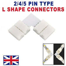 L-SHAPE / RIGHT ANGLE 8MM-10MM SOLDERLESS LED STRIP CONNECTOR COUPLER 2/4/5 PIN