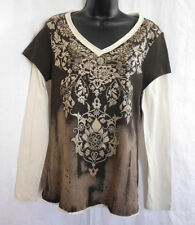 New Directions Knit Top Size L NWT Brown Floral Brad 100% Cotton Long Sleeve $44