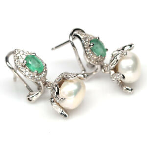 NATURAL WHITE PEARL, EMERALD & CZ 925 STERLING SILVER EARRINGS