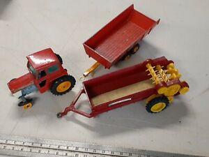 1970 Lesney Matchbox Massey Furguson Tractor Trailer and Manure Spreader RARE