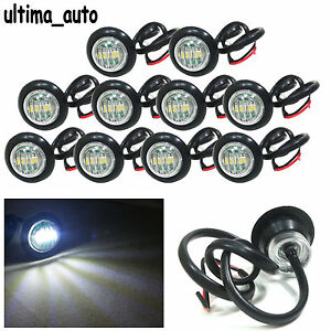 10x 3 LED White Round Front Side Marker Lights Lamps 12V For Truck Trailer Lorry
