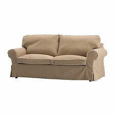 IKEA Ektorp SLIPCOVER 2 Seat Loveseat Sofa Cover IDEMO BEIGE with Piping COTTON