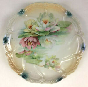 """Lichtenburg Germany Hand Painted Embossed Floral Pattern Plate 8 1/2"""" Antique"""