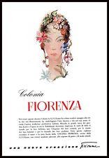 PUBBLICITA' 1953 COLONIA FIORENZA CREAZIONE GI.VI.EMME PROFUMO DONNA MODA
