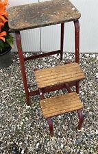 Vintage Retro Industrial Folding Steps Stool Red Tubular  Metal Framed Wooden