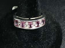 925 Sterling Silver Platinum Clad Pink & White Sapphire Ring - Size N Ref 336