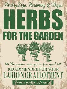 Herbs for the Garden large steel sign 40cm x 30cm (og)