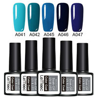 LEMOOC 5 Bottles 8ml Nagel Gellack Soak off Nail Art Nagellack Gel UV Blau Kit