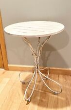 Decorative Accent End Table. Iron Base With Wood Top. Painted Gold/Silver tone
