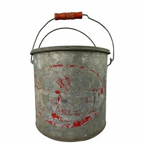 Vintage Mit-Shel Better Bilt Metal Minnow Bucket Wood Handle Fish Camp Decor