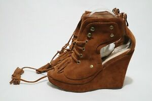 Sportsgirl Vintage Size 10 Womens Leather Suede Peep Toe Lace Up Back Zip Wedge