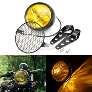 "6.5 "" Universal Motorcycle Motorbike Headlight Grill Light Headlamp + Bracket"