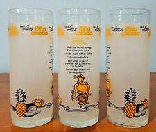 BAR: DRINK GLASS, COCO LOPEZ Frosted Pina Colada Glasses w/Recipe, SET OF 3, VTG