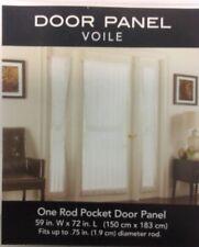 "SHEER VOILE ROD POCKET DOOR PANEL CURTAIN White 59"" x 72"""
