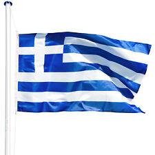 Mât de drapeau aluminium 625 cm drapeau de la Grèce incl. kit jardin drapeaux