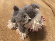 """New Our Generation SCHNAUZER PUP 6""""H gray white with black leash"""