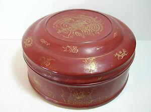 Oriental Round Wood Storage Box, Red and Gold Design
