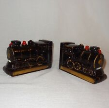 Vintage Japan Redware Train Engine Bookends Black Red And Gold