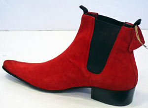 Handmade Red Suede High Ankle Pull Tag Stylish Men's Boot