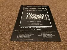 "(BEBK15) ADVERT/POSTER 11X8"" TWELFTH NIGHT : LIVE AND LET LIVE ALBUM & TOUR DATE"