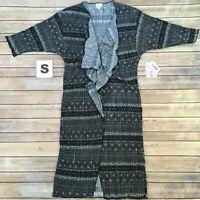 SMALL SHIRLEY LuLaRoe ~BLACK & WHITE PAISLEY PRINT~ Kimono Cover-Up; Sizes 00-8